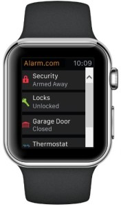 Apple Watch controlling security alarm
